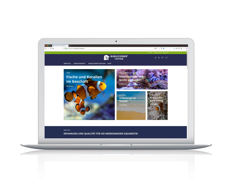 Webdesign und Webshop für den Aquaristen Fachhandel Korallenriff Center