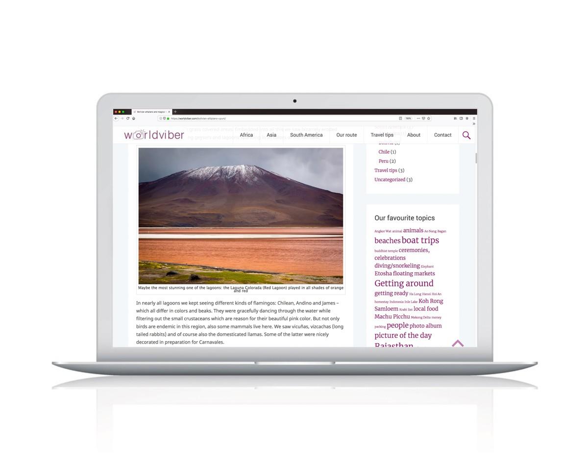Webdesign für Worldviber - Reiseblog